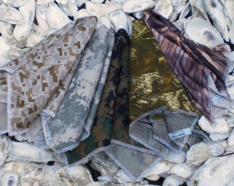 Camo Pocket Squares Available in Digital Desert, Digital Army, Waterfowl, Digital Woodland and Forest Camouflages