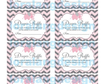 Digital Printable Little Peanut Baby Shower Diaper Raffle Cards