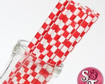 Checkered Red Party Paper Straws - Cake Pop Sticks - Pixie Sticks - Qty 25
