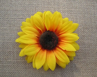 bright yellow sunflower hair clip