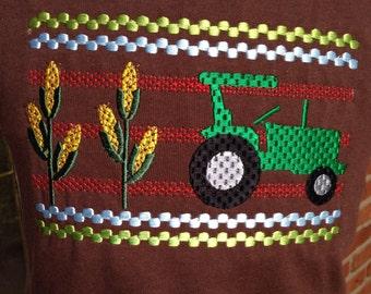 Farm Faux Smocked Shirt, Farm Shirt, Tractor Shirt, Smocked Farm Shirt, Smocked Tractor Shirt, Cute Boys Farm Shirt, Cute Tractor Shirt