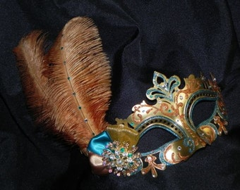 Bronze, Gold and Teal Capri Masquerade Mask
