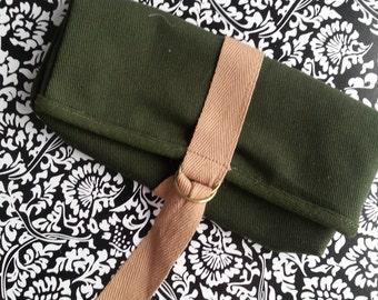 Vintage Dark Green Canvas Case or Wallet Purse Fold Over 1980s Strap
