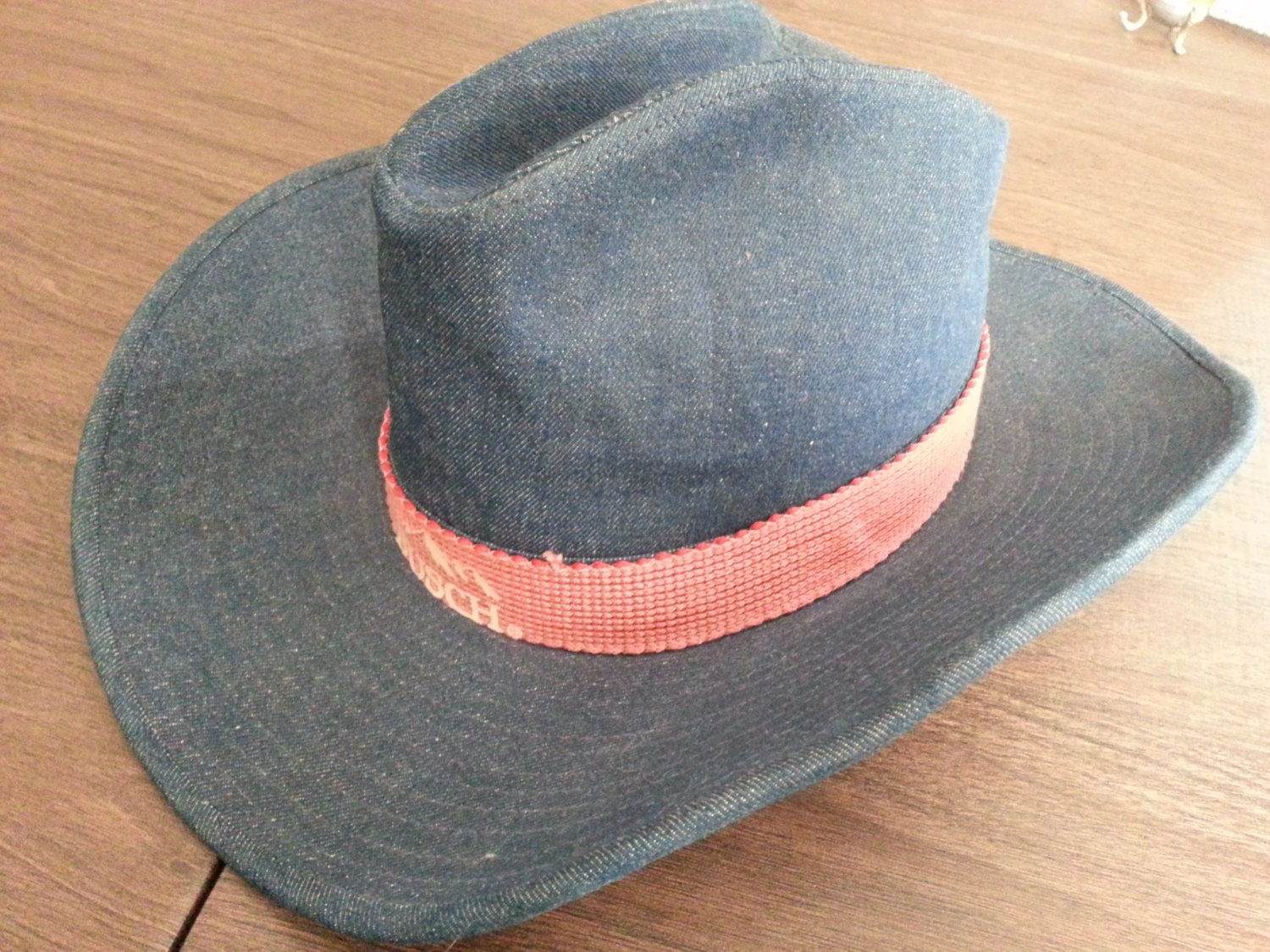 Vintage Busch Beer Denim Cowboy Hat With Red Band And Mountain