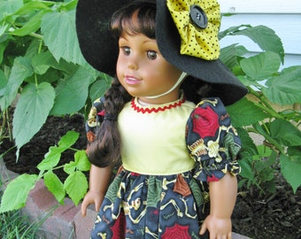 HCostume Dress and Witches Hat  for American Girl or any 18 inch Doll