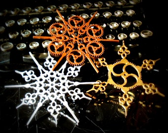 Steampunk Snowflakes Mixed Metal finishes Christmas Ornaments Steampunk Ornaments