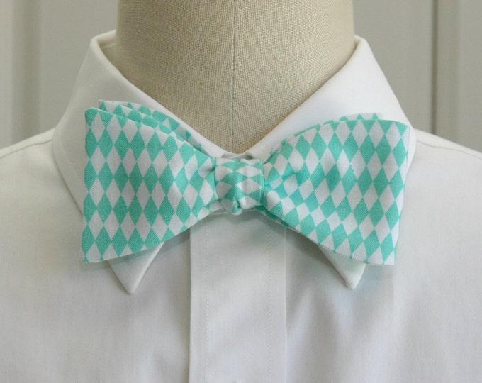 Men's Bow Tie, turquoise/white harlequin diamonds, geometric print bow tie, wedding party wear, groom/groomsmen bow tie, prom bow tie,