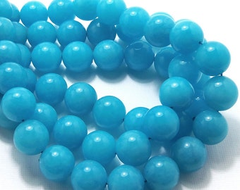 Dyed Jade, Bright Blue, 12mm, Round, Smooth, Gemstone Beads, Large, Full Strand, 32pcs - ID 1467