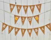 Birthday banner   ...   30th Birthday    ..   Happy Birthday   ...   Beer   ...   Burlap decoration