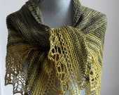 Knitted Lacy Shawl in the Colors of Moss