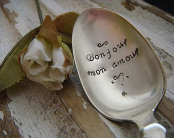 Bonjour mon amour - Good Morning My Love - Vintage Coffee Spoon