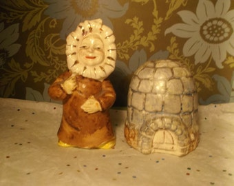 Unique Vintage Set of Hand Painted Eskimo and Igloo Salt and Pepper Shakers
