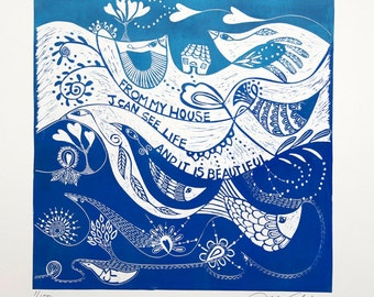 linocut, Life is Beautiful, blue, printmaking, fish, birds, house, inspirational art, home interior, blue and white, spring, quote, water