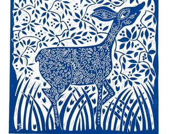 linocut, Doe Deer, blue, printmaking, home interior, Deer, country cottage, wild life, forest, spring, blue and white,