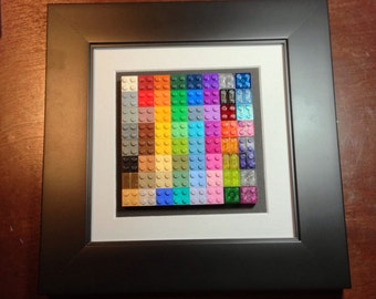 "NEW Lego 64 Color Chart Collection In 10""X10"" Wooden Frame Limited Edition"