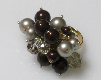 Swarovski Pearl and Crystal Cluster Ring - Wine, Platinum and Luminous Green Pearls and Crystals