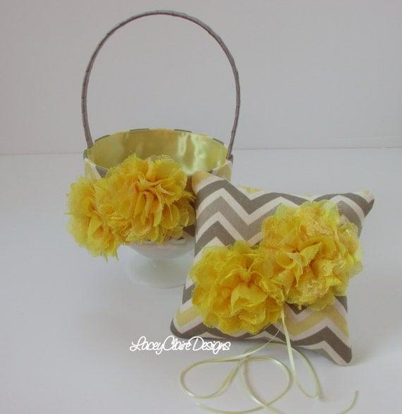 Flower Girl Basket And Wedding Ring Pillow Set Shabby Chic Wedding