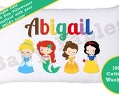 Personalized Pillowcase, Princesse,s Princess, Cinderella, Little Mermaid, Belle, Snow White, Child's Pillowcase, Little Girl Pillow