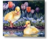 Ducklings Baby Duck Print on Wood Washable Wall Art Children Animal Nursery Decor by Janet Zeh