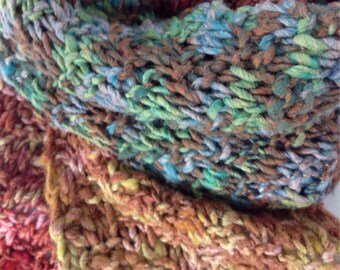 Multicolor Knit Scarf, Silk Merino Knit Scarf, Textured Knit Scarf, Blue Brown Green Scarf
