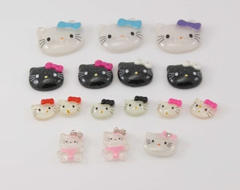 Grab Bag Embellishments - Kitty Inspired Cabochons - Set of 16 - Flower Embellishment - Wholesale Headband Supplies - Headband Flower Center