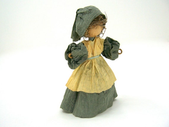 Vintage doll handmade from paper, little pilgrim for delicate play, fall autumn halloween thanksgiving home decor, collectible, blue, cream