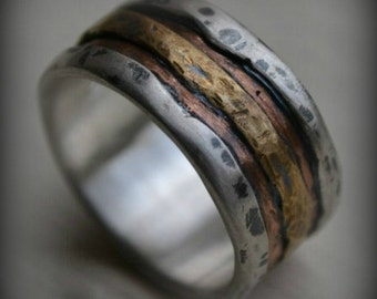 mens wedding band - rustic fine silver copper and brass - handmade artisan designed wide band ring - manly ring - customized