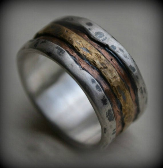 Mens wedding band rustic fine silver copper and brass for Mens copper wedding rings