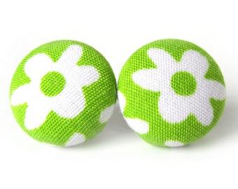 Neon green earrings - bright stud earrings - fabric button earrings - lime post earrings - spring gift - bright white flower