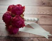 Fuchsia Pink Peony Wedding Bouquet - Peony Bud Bouquet
