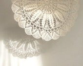 "Stunning chtochet vintage doily 13"" diameter off-white color ~ Christmas dinner hostess gift ~ protect  wood furniture, chic cottage look"