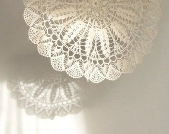 "chtochet  doily 13"" diameter off-white Christmas dinner hostess gift  how to protect wood furniture chic cottage decor for mom from daughter"