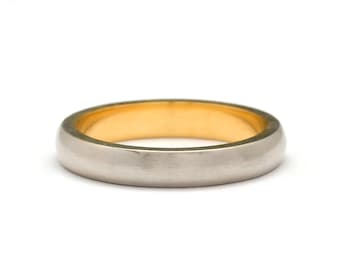 22k gold ring Two Tone Wedding Band - 22k gold wedding band - White And Yellow Gold Ring - Mens Unique Wedding Band - Wedding Band