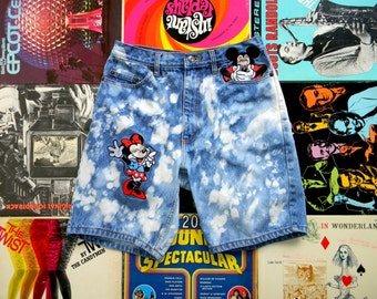 Vintage High Waisted Denim Shorts - 90s UNISEX Custom Bleached/Stone Washed DISNEY Jean Shorts w Minnie & Mickey Mouse Appliques Medium M