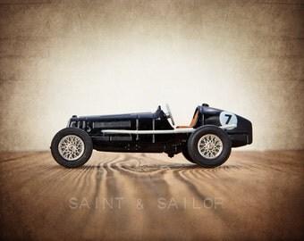Black No.7 Vintage Race Car, One Photo Print, Boys Room decor, Vintage Car Prints