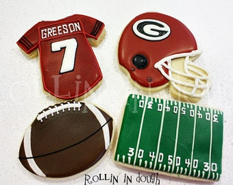 Football Cookies, Football Helmet and Jersey Cookies, Football Helmet Cookies,  Football Jersey Cookies, Football Field Cookies