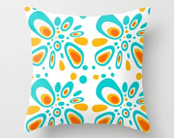 White, Pillows, Mid Century Modern, Flowers, Home Decor, Living Room Decor, Mid Century, Retro, Decorative Pillow, Bedroom Decor, Blue