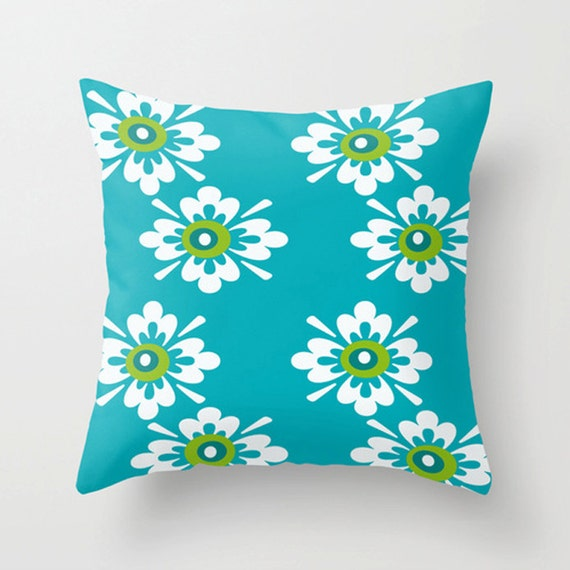 Mid Century Outdoor Pillows : Items similar to Turquoise Modern Outdoor Pillow, Outdoor Pillow, Mid Century Modern Outdoor ...