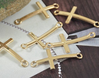 10pcs of  Shiny Gold Large Cross Pendants Beads Finding Beads Filigree 42mmx20mm Yellow  Anchors Link Fitting jewelry Supplies