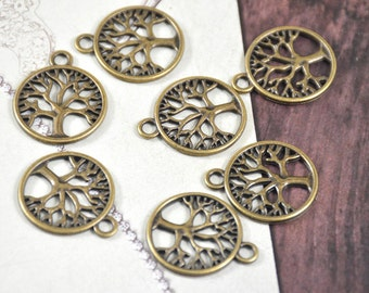 15pcs of  Charm Antique Bronze Hope Tree Pendants Link Bead Finding Beads Filigree 20mm Fitting jewelry Supplies