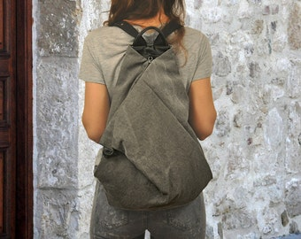 Handmade Canvas backpack made in  stonewashed grey- black leather ,named Kalliope MADE TO ORDER