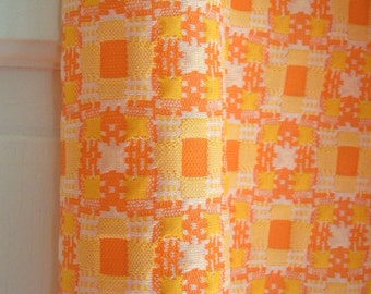 Orange Checkerd Polyester Fabric- 1 Yard- Orange Creamsicle Cololred Fabric