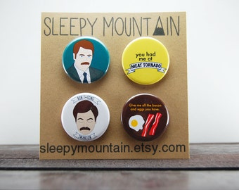 Ron Swanson Badges - Parks and Recreation Pinback Buttons or Magnets