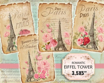Paris Eiffel tower Roses Shabby chic french whimsical Scrapbook Decoupage 3.5x5 inch (432)