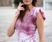 Flatter skirt felted dress. Seamless Felted long dress mauve white gown, OOAK felted Dress DC Fashion week