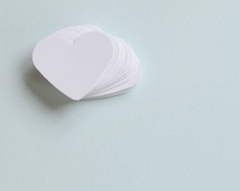 White Die Cut Hearts, White Confetti for Wedding Reception or Party, 100 Medium Sized Hearts, Paper Hearts