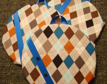 "Fabric Covered Cork Board. Set of 3 Circular 7"""
