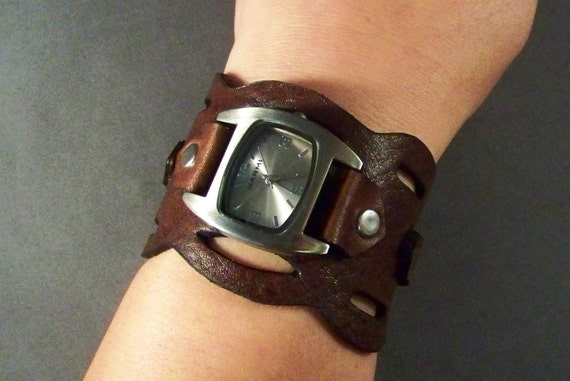 Leather Watch-Brown Leather Watch-Bracelet Watch-Wrist Watch Women-Cuff Watch-Men's Leather Watch-Gifts-Unique Women Watches-Men's Watch