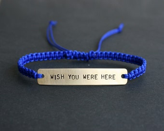 Wish You Were Here Sterling Silver or Brass and Macramé Bracelet, Choice Of Colours Available