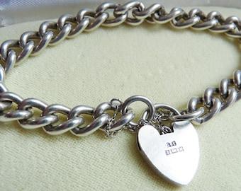 English Heart Padlock Sterling Charm Bracelet Birmingham 1972 ~ 31.6 grams ~ All Links Hallmarked